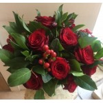 12 Short Red Rose with Berries & Alstroemeria