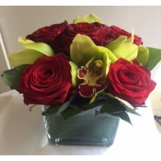 5 Red Rose's with Green Cymbidium's