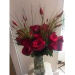 12 Short Red Rose's with Decorative Grass.